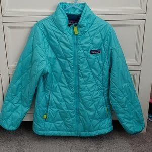 7 8 S girls Patagonia jacket turquoise color
